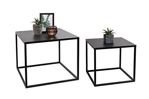 LIFA LIVING Schwarze Couchtische 2er-Set | Niedrige stapelbare Beistelltische im modernen Design | Wohnzimmertische aus Metall | kubische Form
