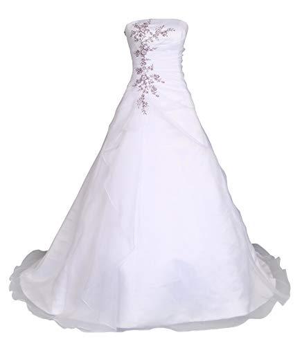 Romantic-Fashion Brautkleid Hochzeitskleid Weiß/Lila Modell W030 A-Linie Satin Stickerei Zweifarbig...