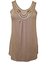 Xclusive Collection Ladies Plus Size Sequin Stud Detail Beaded Design Evening Tunic Tops