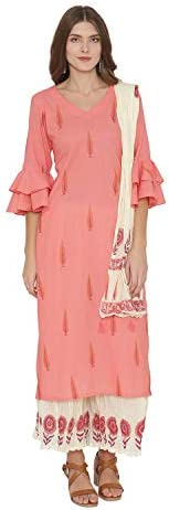 Pinkshink Women's Readymade Pink Pure Cotton Printed Indian/Pakistani Salwar Kameez Dup