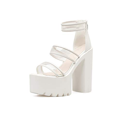 YAN Women es Super High Heel Sandals PU Transparent Ankle Strap Platform Schuhe Wedding Party Evening Dress Shoes White Black,White,38 Ankle Strap Platform Sandal