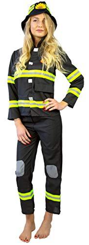 Nick and Ben Feuerwehrmann Feuerwehrfrau Kostüm für Kinder und Erwachsene | 3-teilige Verkleidung für Karneval | Hut Oberteil Hose | schwarz gelb: Größe: S(128)