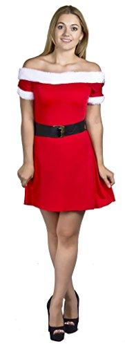 Kostüm Helper Little Damen Santa's - Damen Sexy Miss Santa Weihnachten Kleid Off der Schulter Skater Stil Fancy Kleid Party Kostüm Größe XS-S-M-L-XL