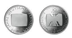 """DEUTSCHLAND / GERMANY / ALLEMANGE 10 EUROMÜNZEN GEDENKMÜNZEN \"""" 50 Jahre Deutsches Fernsehen \"""" 2002 - PRÄGESTÄTTE : G - ERHALTUNG : PP - POLIERTE PLATTE - 925er SILBER - in original Münzkapseln 32,5 randlos"""