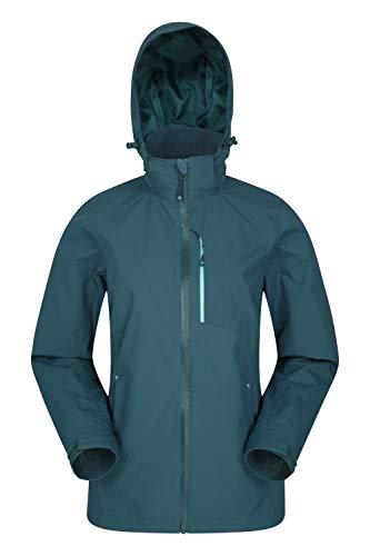Mountain Warehouse Rainforest Damen-Regenjacke - wasserdichter Regenmantel, Netzinnenfutter, versteckte Kapuze, Taschen, Verstellbarer Saum - zum Wandern, Reisen, Grün DE 44 (EU 46) -