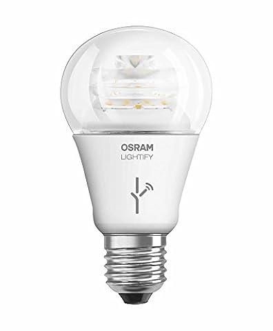 Osram Lightify Classic A LED-Glühlampe, 10 Watt, E27, klar, Dimmbar, Warmweiß 2700K, Kompatibel mit Alexa