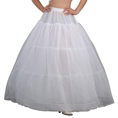 Haptian 3 Creolen Braut Krinoline Petticoat Bustle Ballkleid Brautkleid Unterrock(Weiß (Tanz Kostüm Mit Bustles)
