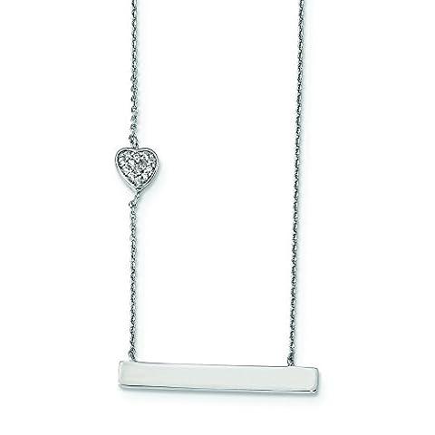 1mm Sterling Silber Rhodiniert Zirkonia Herz mit 5,1cm EXT. Bar Halskette–41Zentimeter (Ext Bar)