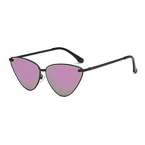 WZYMNTYJ Frauen Marke Cat Eye Sonnenbrillen Mode Schwarz Metall Sonnenbrille Weiblichen Spiegel Schwarz Lila Sonnenbrille