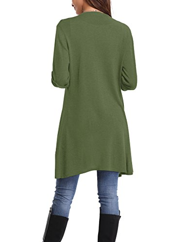 Abollria Damen Strickjacke Lang Cardigan Casual Langarm Wasserfall Jacke Asymmetrisch Schnitt mit Seitentaschen Grün
