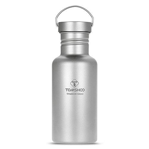 TOMSHOO Wasserflasche Voll Titan, 750ml mit extra Kunststoff Deckel Ultraleicht Outdoor Trinkflasche für Camping, Wandern, Radfahren usw