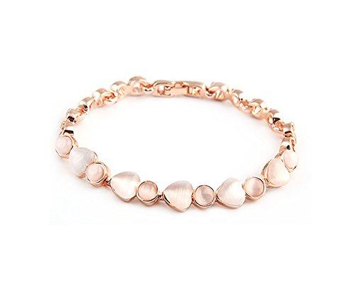 Findout - braccialetto alla moda con opali placcato in oro rosa (f1798)