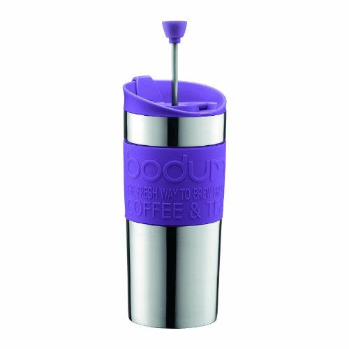 Bodum K11067-278 Travel Press Set Kaffeebereiter mit extra Trinkaufsatz, Vakuum, klein, 0.35 l