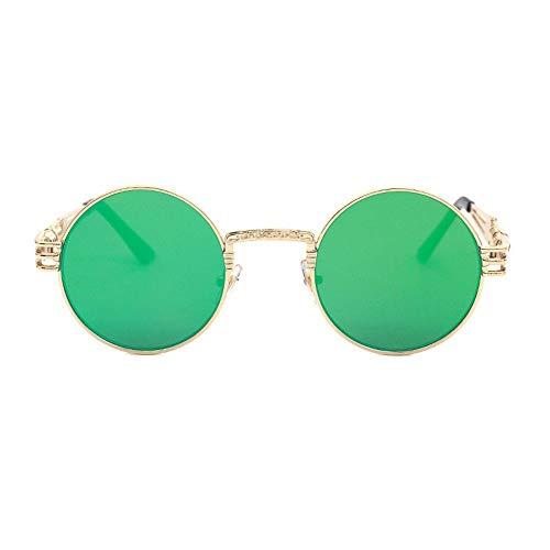 Sonnenbrille Retro Brille Gold Brille Frames Brillen Für Frauen Vintage Steampunk Runde Klar Mode Brille Männer Männliche Nerd Metall Grün Film