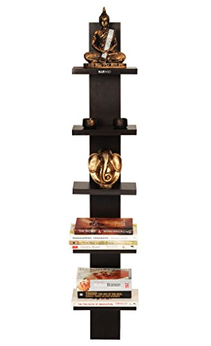 Bluewud Louis Wall Decor Shelf / Wall Display Rack (Wenge, 5 Shelves) S-LO-W5