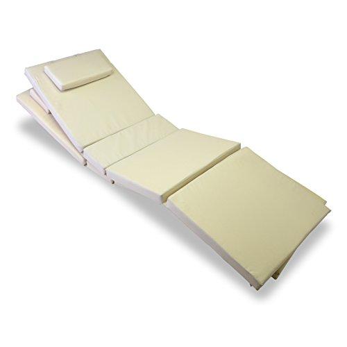 Nexos GL06020_SL2 Divero 2-er Set Liegen-Auflage Kopfkissen für Sauna Garten Terrasse hochwertig Creme,