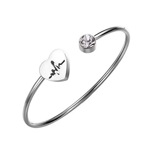 Fyore Titan Stahl Herz Armreif Verstellbares Offenes Armband mit Kristall Ideales Geschenk für Frauen Ärztin (Herzschlag Silber)