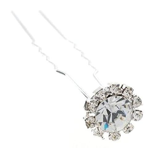 6 pcs X Wedding Bridal Clear Crystal Rhinestone Hair Pins