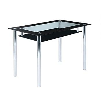 Glastisch Für Esszimmer, Eckiger Glastisch Mit Ablage Ist 110X70
