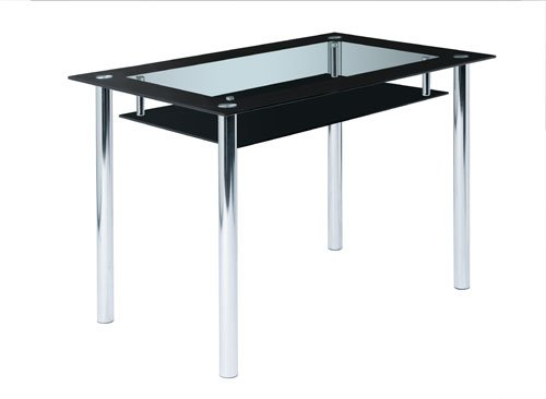 lifestyle4living Design Esstisch aus Glas mit schwarzer Glasplatte und praktischer Ablageplatte, Esszimmertisch ist 110 cm breit und für kleines Wohnzimmer geeignet
