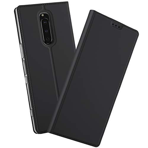 GEEMEE Hülle für Sony Xperia 1, Premium PU Hülle Case Tasche Leder Brieftasche Schutzhülle Standfunktion Flip Handyhülle Cover (Schwarz)