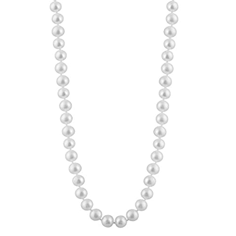 Bella Pearls White 8-8.5 mm Freshwater Pearl Strand 24 inch Necklace with Sterling Silver Clasp