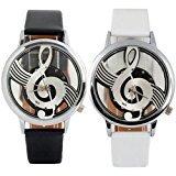 Amyove Women Men Vogue Musical Note Notation Faux Leather Strap Quartz Wrist Watch - Best Reviews Guide