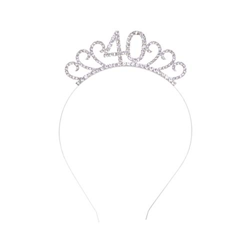 Lurrose Tiara Cumpleaños 40 Años Cristal Diadema