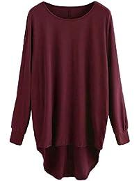 DEELIN LiquidacióN Blusa Moda para Mujer Color SóLido Color SóLido Cuello Redondo Manga Larga Jersey Suelto Blusa Holgada