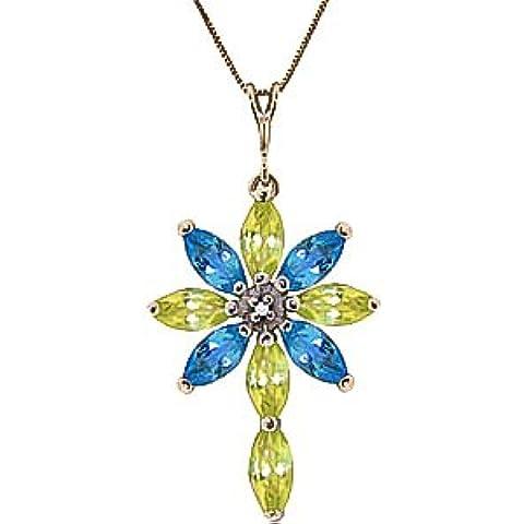QP joyeros diamante Natural, azul topacio y collar con colgante en circonitas 9ct oro - 1.98ct 2256Y