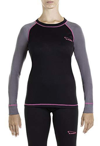 XAED, maglia da sci per strato base, da donna, colore Nero(Black/Anthracite/Fuchsia), Taglia M, intimo termico donna