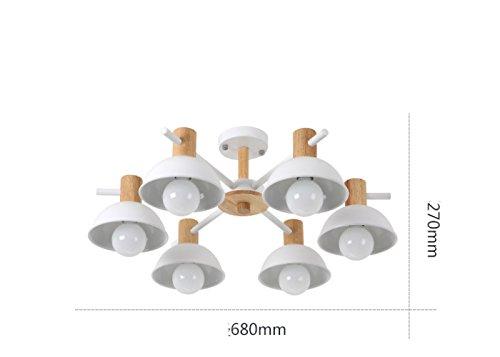 DHG Nordic minimalistische LED Schlafzimmer Beleuchtung, Moderne kreative Persönlichkeit Studie Beleuchtung, Wohnzimmer Esszimmer zweites Schlafzimmer Schmiedeeisen Deckenleuchte,Weiß,6 Köpfe - Weiß Schmiedeeisen Kronleuchter