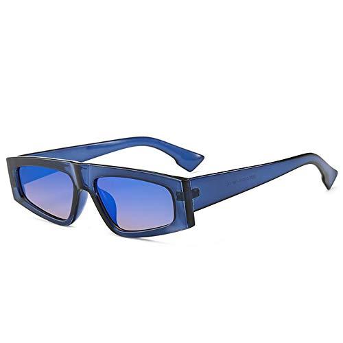 DFBUB Quadratische Sonnenbrille Retro Flat Top Frame Brille Männer Korean Cool Cool Fan Sonnenbrille Männer, blau