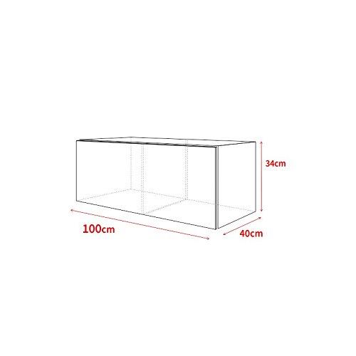 TV Schrank Lowboard Hängeboard SIMPLE mit LED Blau (Schwarz Matt / Schwarz Hochglanz 100 cm) - 3