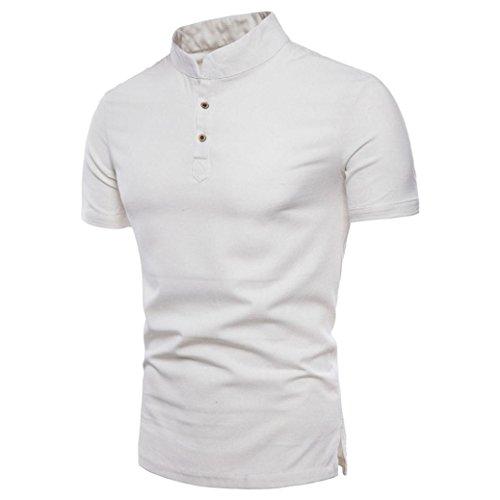Herren Shirt, Rundhalsausschnitt Kurzarm Einfarbige BasicFitness Atmungsaktiv Sweatshirt T-Shirt mit Kragen in vielen Farben Größen s-3xl (XXL, Weiß)