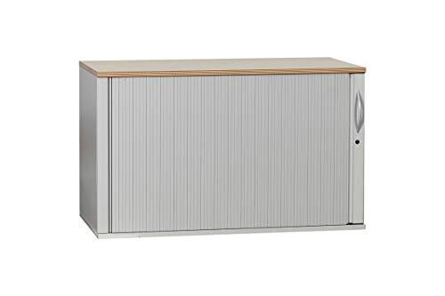 Steelcase Sideboard Aktenschrank Büroschrank Multiplexkante Mit Rolllade In Dekor Hellgrau/Ahorn Bogengriff Geprüft Und Gebraucht, 72,5x120x43,5cm (Generalüberholt) -