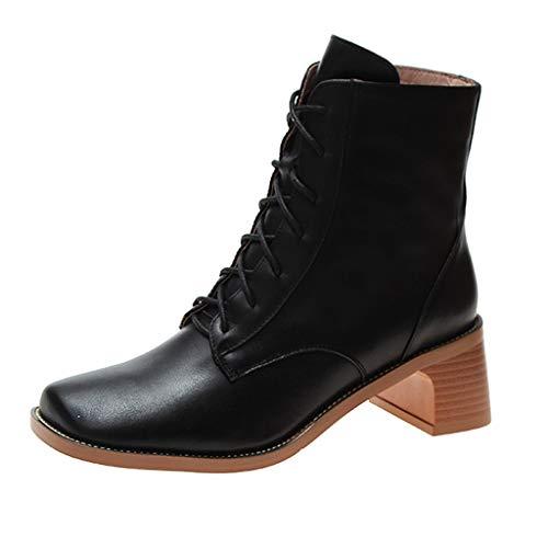 Watopi Damenmode Stiefel Cross Schnürstiefel mit hohen Absätzen Karree Freizeitschuhe Schuhe Damen Winter Ankle Boots