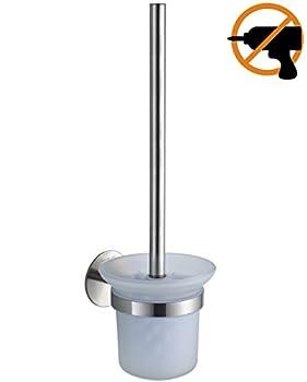 Wangel Wc-bürste Und Halter Wc-bürstengarnitur Ohne Bohren, Patentierter Kleber + Selbstklebender 3m-kleber, Edelstahl Und Glas, Gebürstetes Finish 0
