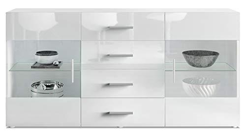 Vladon Sideboard Kommode Bari, Korpus in Weiß matt/Front in Weiß Hochglanz