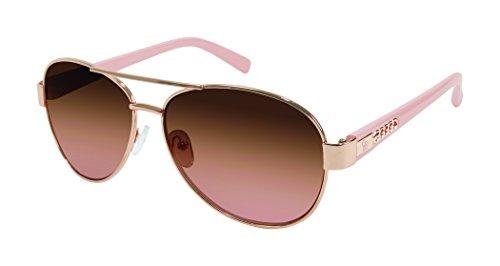 Jessica Simpson Women's J5505 Rgdrs Non-Polarized Iridium Aviator Sunglasses, Gold Rose, 60 mm ...