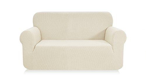 Ebeta Elastisch Sofa Überwürfe Sofabezug, Stretch Sofahusse Sofa Abdeckung Hussen für Sofa, Couch, Sessel 2 Sitzer (Cremefarbe, 145-185 cm)