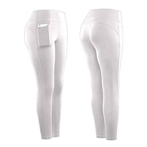 PRETTYEST Legging de Sport Femme Pantalon de Yoga avec Poches Couleur Unie Pas Cher Leggings Confortable Anti-Cellulite Anti-Cellulite Legging Long Sport Pantalo