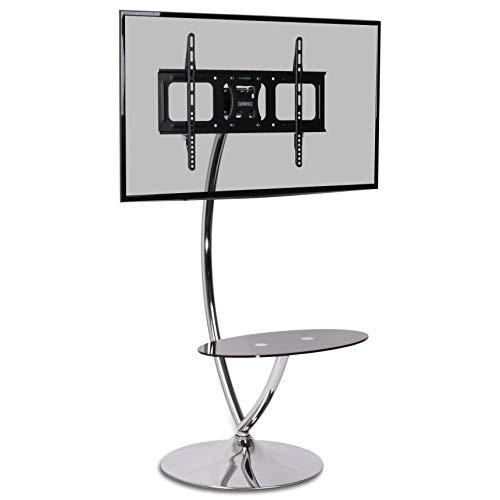 Duronic TVS3F1 Moderner TV- Standhalterung mit Glasregal, geeignet für LCD/LED/Plasma Bildschirme von 32 bis 50 Zoll