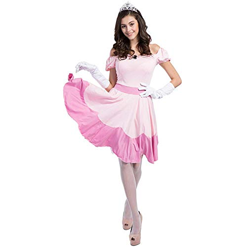 Aeromdale Halloween Prinzessin Peach Kostüm Pink Dress Damen Fantasie Fancy Party Dress Up Erwachsene Damen Karneval Outfit - Pink - XXL (Peach Kostüm Für Erwachsene)