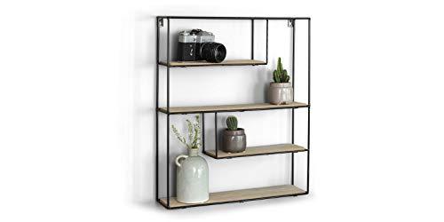 LIFA LIVING Wandregal aus Holz & schwarzem Metall mit 4 Böden | Schwebendes Vintage Holzregal im Naturstil mit 4 Etagen | Küchenregal Gewürzboard Gewürzständer (55 x 45 x 11 cm)