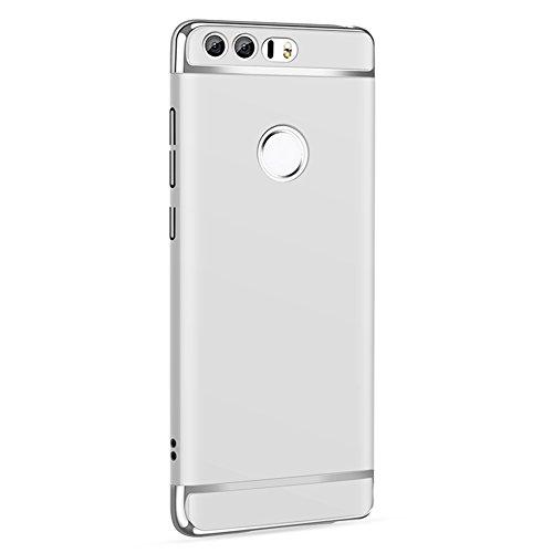 Huawei Honor 8 Hülle, MSVII® 3-in-1 Design PC Hülle Schutzhülle Case Und Displayschutzfolie für Huawei Honor 8 - Rot / RED JY50078 Silber