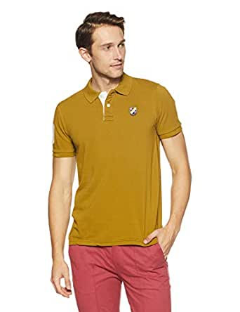Amazon Brand - House & Shields Men's SolidRegular Fit Polo (AW18-HSK-02_Ecru Olive_Large)