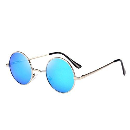 Trada Mode Sonnenbrillen, Unisex Frauen Männer Vintage Retro Brille Mode Aviator Spiegel Objektiv Sonnenbrille Runde Gläser 7 Farben Sonnenschutz-Strand-Tourismus-Gläser (F)