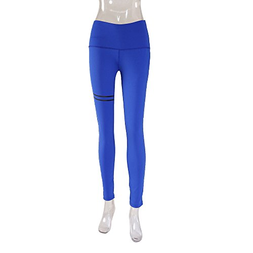 Lilicat Femmes Double Anneau Impression Slim Sports Pantalon Taille Haute Yoga Fitness Leggings Courir Gym Stretch Pantalon S-XL blue