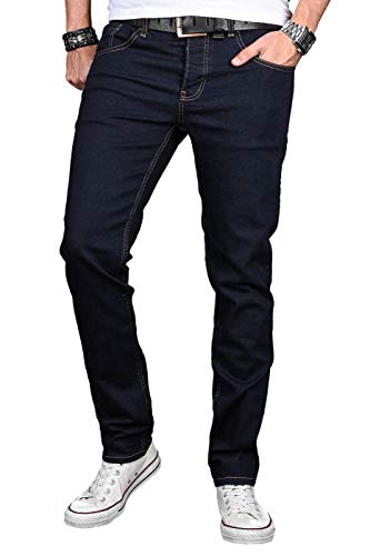 A. Salvarini Designer Herren Jeans Hose Basic Stretch Jeanshose Regular Slim [AS042 - Denim Blue - W32 L36] -